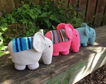 Three Crocheted Elephants