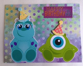 "Handmade Birthday Card "" Happy Birthday From Monster Inc """