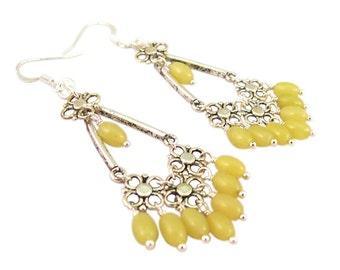 Chandelier Earrings, Genuine Lemon Jade Bead Dangles swing from an Antiqued Silver Connectors, ER-0092
