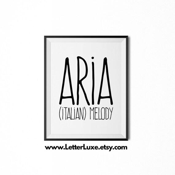 Items similar to Aria Name Meaning Printable Nursery Art ...