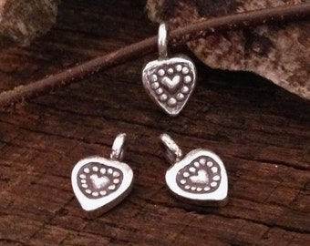 NEW 4 Tiny Fine Silver Heart Charms  - Handcrafted by Karen Hill Tribe C105