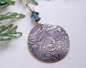 BOHO Necklace, Rustic Silver Pendant, Oxidized Silver Jewelry