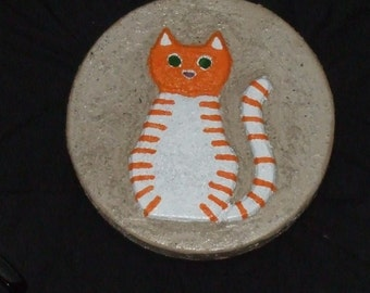 Orange Tiger-Striped Cat Garden/Memorial Stone