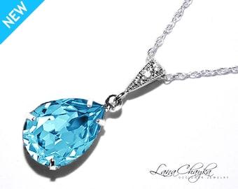 Aquamarine Blue Crystal Necklace Swarovski Aquamarine Teardrop Necklace 925 Sterling Silver CZ Blue Necklace Weddings Bridesmaids Jewelry