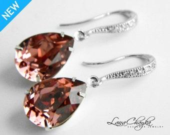Wedding Marsala Crystal Earrings Vintage Rose Pink Rhinestone Earrings Swarovski Blush Pink Silver CZ Earrings Bridesmaids Marsala Earrings