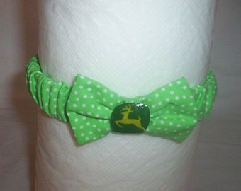 Handmade John Deere Baby Headband Green And White Polka Dot 3