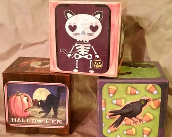 Set of 3 Halloween Themed Blocks, Spooky Decoration, Haunted Display, Ghosts, Witches, Pumpkins, Black Cats!