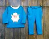 Girls 18-24 Months Trendy Appliqued  Sweatshirt and Matching Pants Handmade - Size 18-24 Months Girls Handmade Shirt and Pant Set Fall