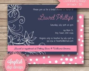Sketch Floral Bridal Shower Invite, Printable Floral Bridal Shower Invitation, Flower Bridal Shower Invite - Sketch Floral in Navy and Pink