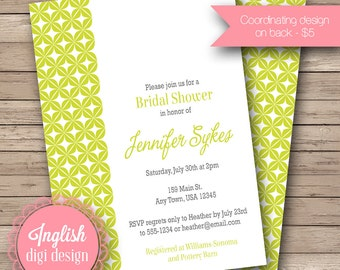 Mod Lattice Bridal Shower Invite, Printable Bridal Shower Invitation, Lattice Shower Invitation - Retro Lattice in Lime, Black