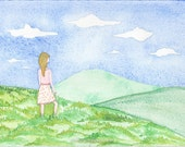 Perfect Day, Summer Meditation, Summer Fields, OOAK, Original Watercolor Painting