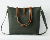 LARGE, Forest green front pocket tote / diaper bag / shoulder bag with detachable strap  Design by BagyBags