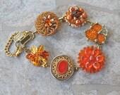 Bridesmaid Gift, Vintage Earring Bracelet, Gold, Upcycled, Antique, Cluster, Glass, Rust, Copper, Sienna, Jennifer Jones, OOAK - Bittersweet