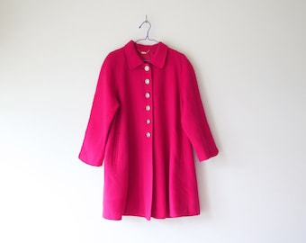 1970s Vintage Korean barbie doll Hot pink Wool winter jacket, full of buttons..size M