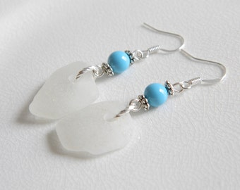 Sterling Silver Beach Glass Earrings - Frosty White Genuine Sea Glass Jewelry - Turquoise Swarovski Pearls - Chesapeake Bay Seaglass