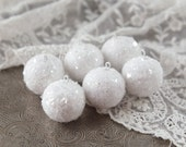 Mini Spun Cotton Snowballs - Miniature Christmas Ornaments, 6 Piece Boxed Set