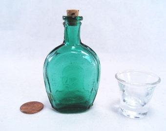 Miniature Benjamin Franklin Green Bottle and Shot Glass Vintage 70s