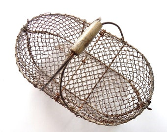 French Vintage Oyster or Snail Gathering Basket  Rustic and Handmade