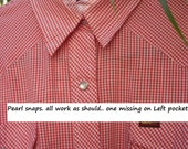 Western pearl snap shirt, Red & White Gingham,Lee Pearl snap, Shirt,size, L, Vitchy Red plaid
