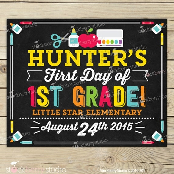 Sign Printable - 1st Day of 1st Grade Sign - 1st Day of School ...
