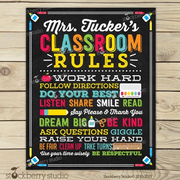 Classroom Rules Decor : Classroom rules personalized teacher sign decor