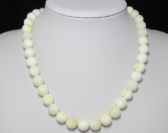 White Yellow Shell MOP 12mm 925 Silver 19 inch Necklace