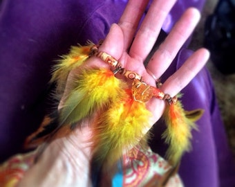 Vivid crueltyfree feather anklet with wrapped citrine