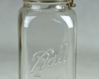 Vintage Square Quart Size  IDEAL BALL JAR  with glass lid 1923 - 1933