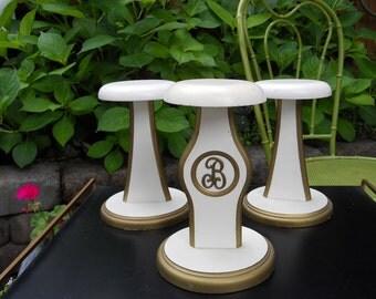 Vintage Wood Racks Hat Stand Letter B Monogram Wooden Hat Displays Photo Prop White Gold Set of 3