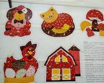 Vintage Appliques, Fabric Appliques, Cottage Chic, Barnyard Appliques, Sunbonnet Girl, Dog, Cat, Farm Animals, Gingham, Scarecrow, Chickens