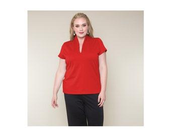 Top w/Standup Collar Ponte Misses & Plus Sizes 2-28