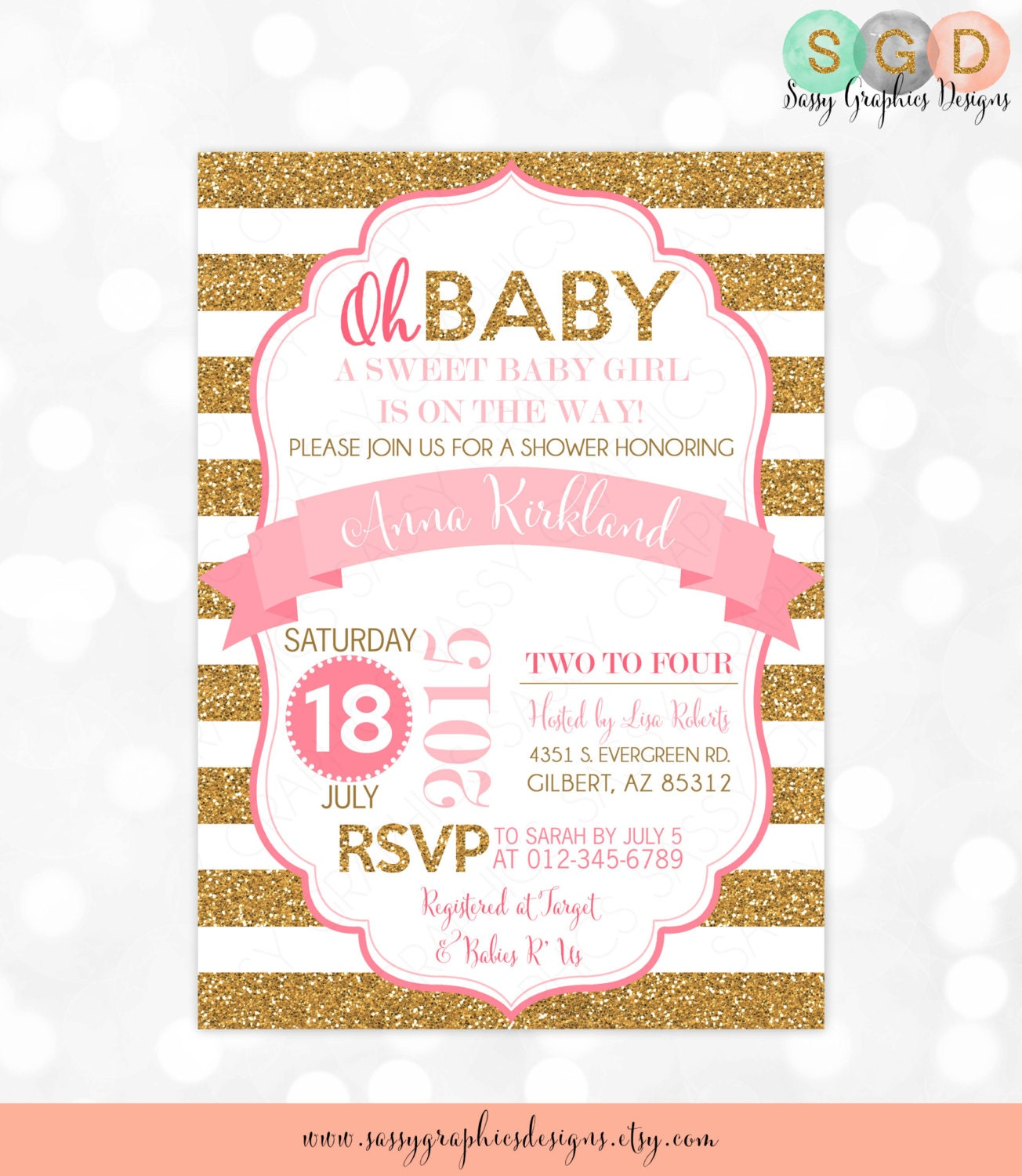 pink and gold baby shower invitation girl baby shower invite
