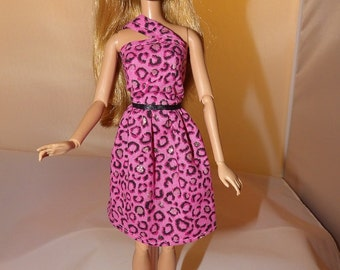 Pink, gold & black Leopard animal print party dress for Fashion Dolls - ed747