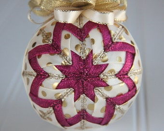 Quilted Christmas Ornament Ball/Gold, Cream and Pink - Wild Dots