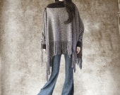 Cape brown tweed/Fringe long top/Poncho dressy/Cover up women