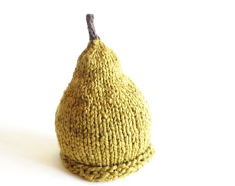 Ripe Pear Hat - Baby Size - Organic Cotton Hand Knit - Ready to ship