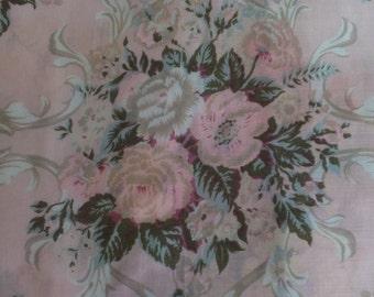 Vintage Berkshire Pink Aqua Cabbage Rose Floral Challis Scarf