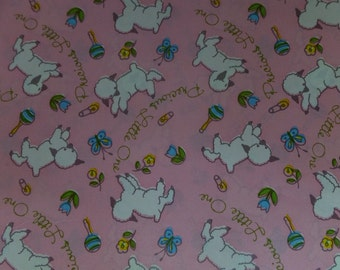 Vintage Pecious Little One Pink Lamb Baby Shower Gift Wrapping Paper