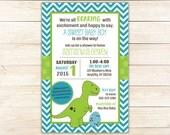 Dinosaur Invitation, Dino Printable Baby Shower or Birthday Invitation - Dinosaur Invite - Chevron - Trex -- Any Color