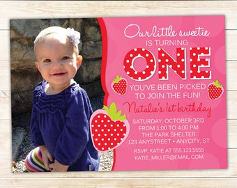 Strawberry Invitation - First Birthday Party Printable Photo Invitation - Berry 1st -- Any Color