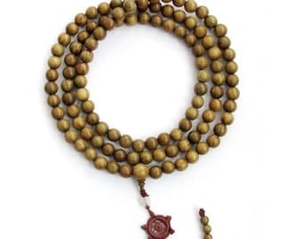 108 12mm Green Sandalwood Prayer Beads Tibetan Buddhist Rosary Japa Mala  ZZ369