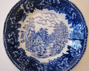 1930s Finland Arabia Blue Landscape Saucer - Cabin on Lake - Flow Blue Look - Tunnel Kiln Mark