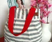 Striped Tote Bag Gray and White Diaper Bag, Nautical Stripes bag, Quilted Tote handbag Beach bag Shoulder Bag Every Day Bag