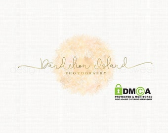 dandelion logo premade logo design watercolor logo photography logo watercolour logo bespoke logo design boutique logo design gold text logo