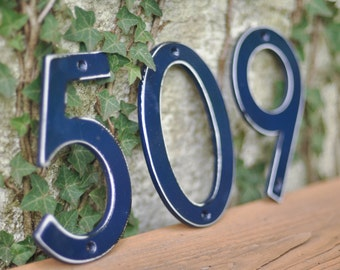 Midnight Navy Distressed Aluminum House Numbers