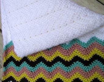 Hand made baby blanket-chevron