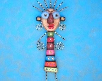 Artful Angel IV, Original Found Object Sculpture, Wall Art, Wood Carving, Wall Decor, by Fig Jam Studio