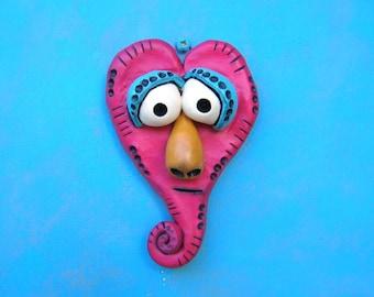 Little Big Heart, Original Polymer Clay Sculpture, Wall Art, Wall Decor, by Fig Jam Studio