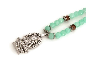 Yoga jewelry - Mint green necklace - Ganesha necklace -  Hindu Necklace - Ethnic Necklace -  Elephant god