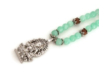 Yoga necklace - Mint green necklace - Ganesha necklace -  Hindu Necklace - Ethnic Necklace -  Elephant god
